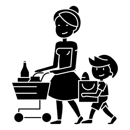 Shopping grocery - mother with son and shopping cart icon.