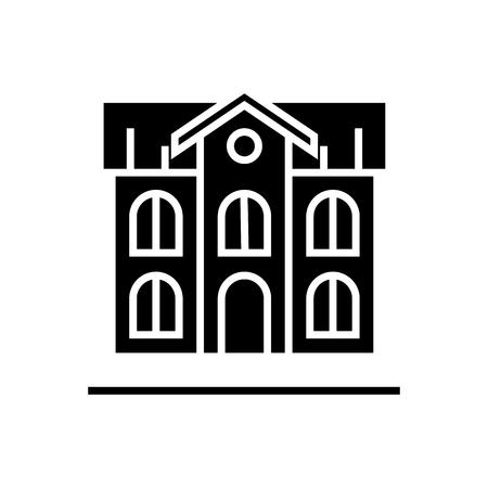 School building icon. Illustration