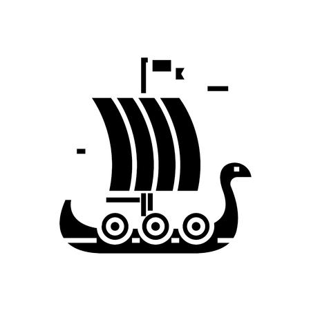 Ship wooden viking icon. Illustration