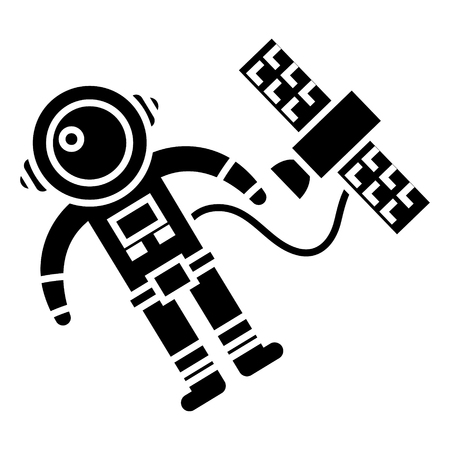 Spaceman in space with spaceship icon