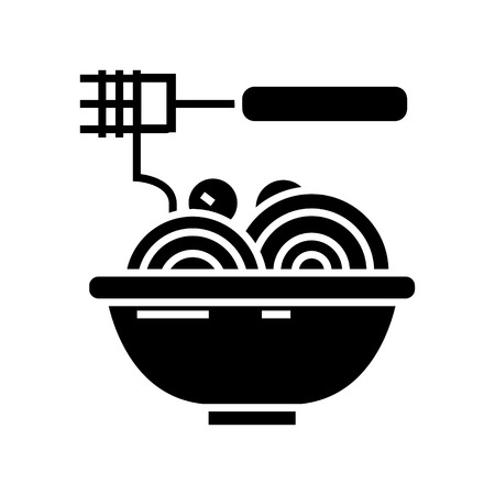 Spaghetti with meatballs icon 向量圖像