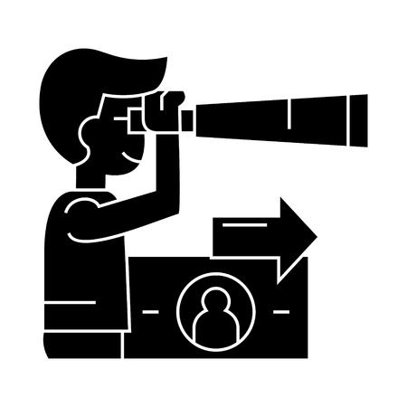 Man with spyglass icon Illustration