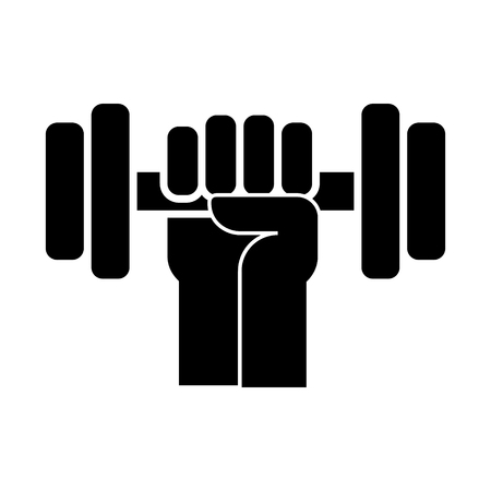 Strong hand with dumbbell icon
