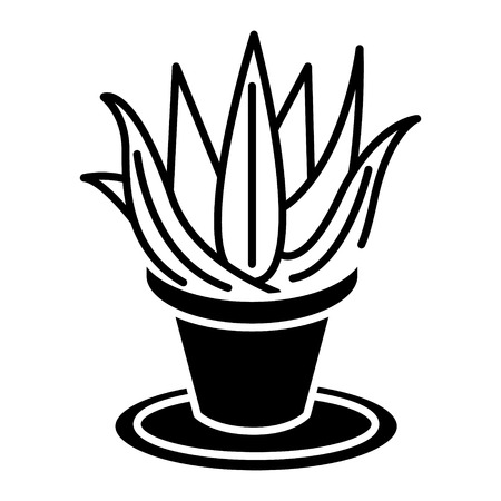 Succulents aloe pot icon Illustration