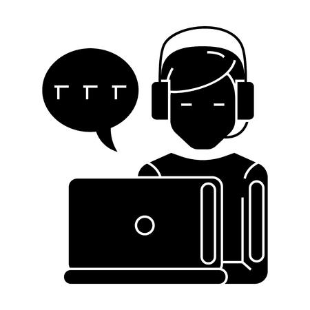 Man met computer en hoofdtelefoon en chat-pictogram Stock Illustratie