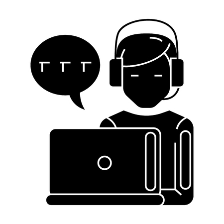 Man with computer and headset and chat icon