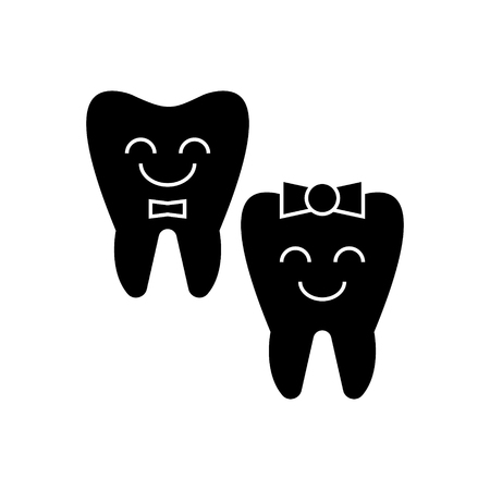 Happy tooth icon Illustration