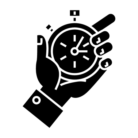 puntualidad: time management - hand timer icon, illustration, vector sign on isolated background