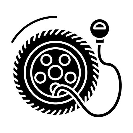 air gauge: tire service with pump - tire pressure icon, illustration, vector sign on isolated background