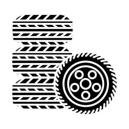 Banden - bandenservice pictogram, illustratie, vector teken op geïsoleerde achtergrond Stockfoto - 88140101