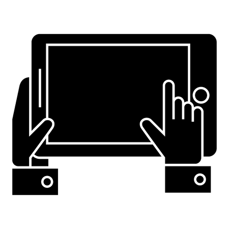 tablet in hands icon, illustration, vector sign on isolated background 向量圖像
