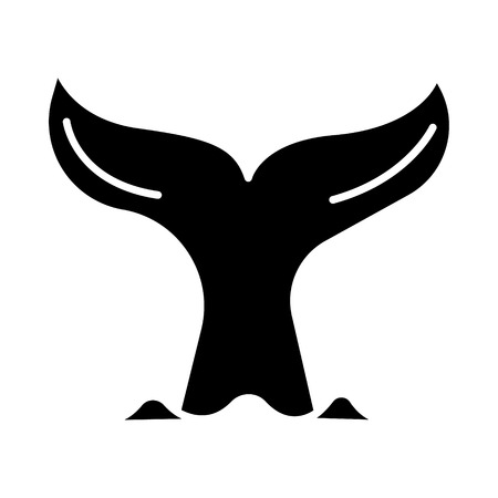 クジラのアイコン、イラストの尻尾、ベクトル分離背景に記号