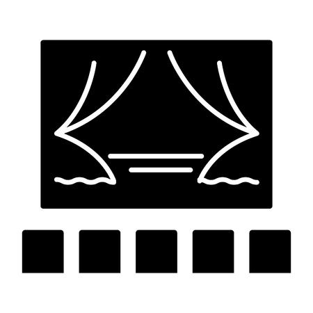 シアター ショー アイコン、イラスト、ベクトル分離背景に記号