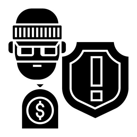 窃盗 - 盗み - 保険盗難アイコン、イラスト、ベクトルに孤立した背景に署名します。
