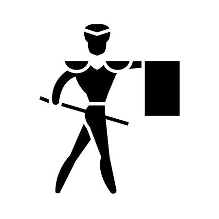 闘牛士 - マタドール アイコン、イラスト、ベクトルに孤立した背景に署名します。