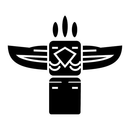 토템 - 네이티브 미국 아이콘, 일러스트, 벡터 격리 된 배경에 서명 일러스트