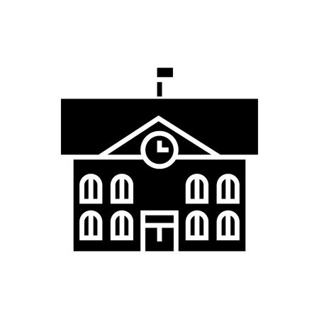 市庁舎 - 市庁舎のアイコン、イラスト、ベクトルに孤立した背景に署名します。  イラスト・ベクター素材