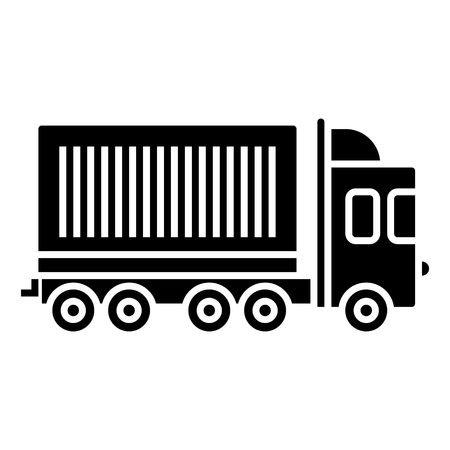 truck cargo container icon, illustration, vector sign on isolated background