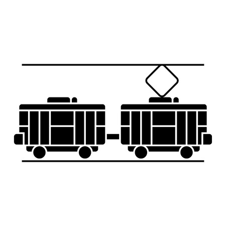 tram icon, illustration, vector sign on isolated background