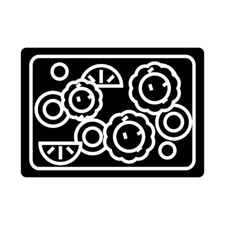 야채 튀김 아이콘, 그림, 벡터 격리 된 배경에 서명