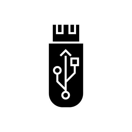 icône de carte mémoire flash usb, illustration, signe de vecteur sur fond isolé