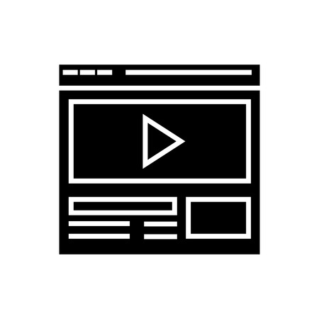 video marketing - online video clip icon, illustration, vector sign on isolated background Illustration