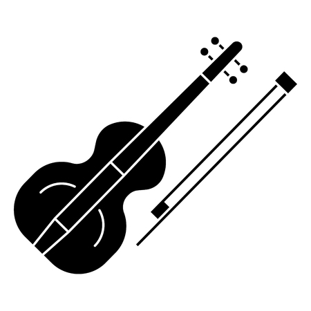 ヴァイオリンのアイコン、イラスト、ベクトル分離背景に記号  イラスト・ベクター素材