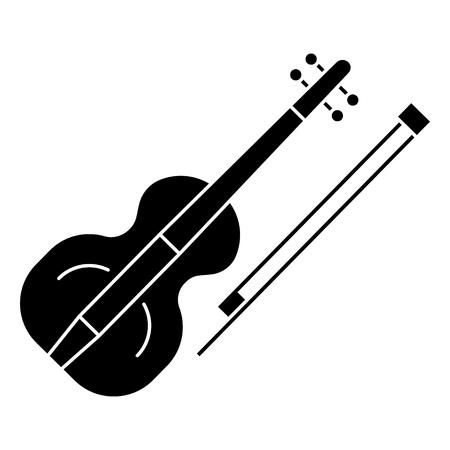 Icône de violon, illustration, signe de vecteur sur fond isolé Banque d'images - 88152610