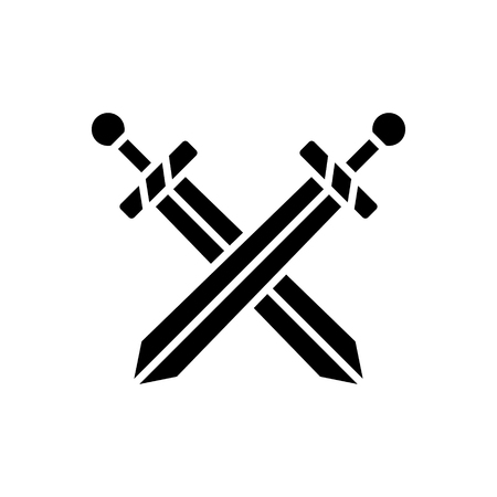 two swords icon, illustration, vector sign on isolated background Çizim