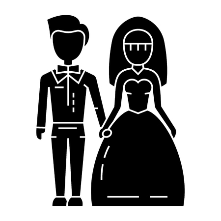 wedding couple - bride and groom icon, illustration, vector sign on isolated background