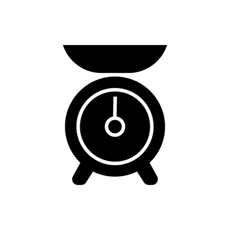 weigh machine: weight kitchen icon, illustration, vector sign on isolated background
