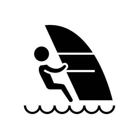 windsurfing icon, illustration, vector sign on isolated background Ilustração