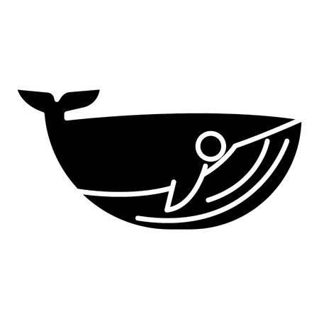 whale icon, illustration, vector sign on isolated background