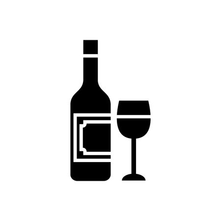 wine and glass icon, illustration, vector sign on isolated background