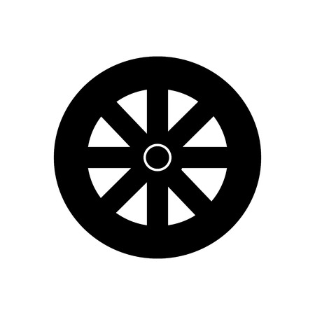 wheel icon, illustration, vector sign on isolated background Ilustração