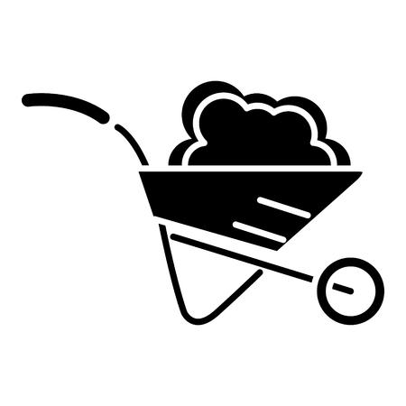 wheelbarrow garden icon, illustration, vector sign on isolated background Çizim