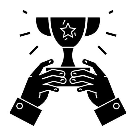 カップの勝者 - 手 - チャンピオン勝利アイコン、イラスト、ベクトルでトロフィーのサインオン孤立の背景