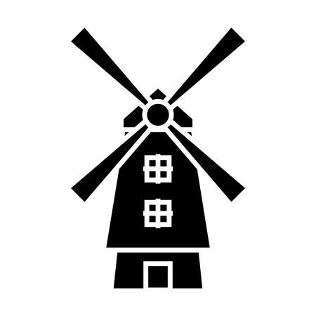 風車-オランダアイコン, イラスト, 孤立した背景上のベクトル記号