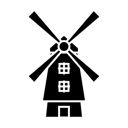 windmill - holland icon, illustration, vector sign on isolated background