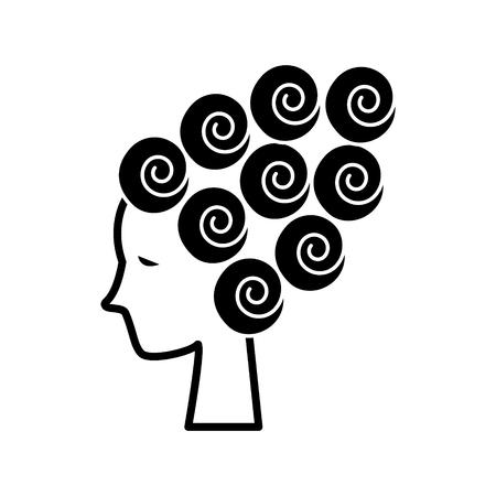 女顔美 - 髪カーラー - カール波アイコン、イラスト、ベクトル分離背景に記号