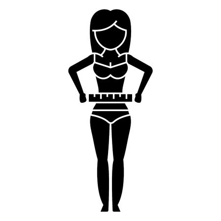 女性腰 - ダイエット フィットネス アイコン、イラスト、ベクトル分離背景に記号  イラスト・ベクター素材