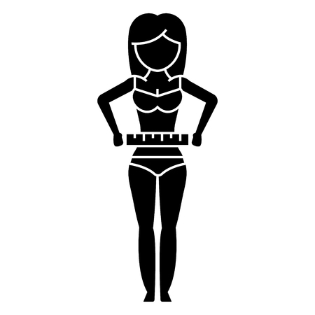 woman measuring her waist - diet fitness icon, illustration, vector sign on isolated background