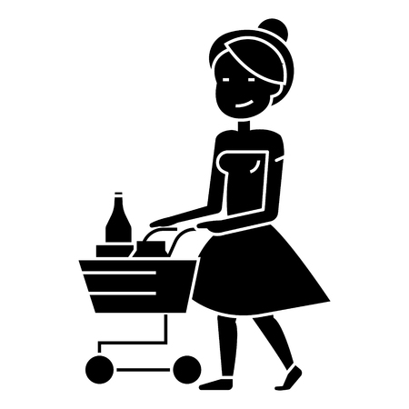 woman shopping in supermarket with cart icon, illustration, vector sign on isolated background Ilustração