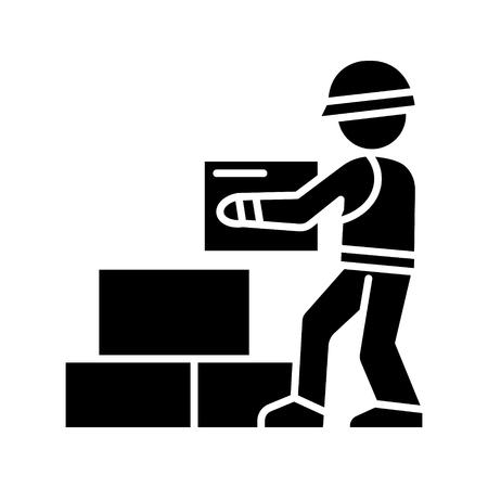Werknemer bouwer bakstenen pictogram, illustratie, vector teken op geïsoleerde achtergrond