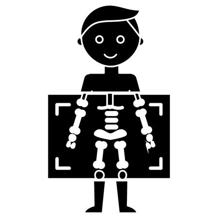 Rayon X - icône de l'homme de diagnostics médicaux, illustration, signe de vecteur sur fond isolé