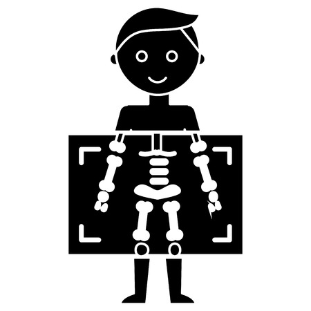 X ray - medical diagnostics man  icon, illustration, vector sign on isolated background
