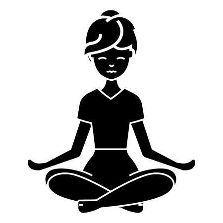 Yoga woman icon, illustration, vector sign on isolated background Ilustracja