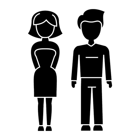 Young couple man and woman icon, illustration, vector sign on isolated background