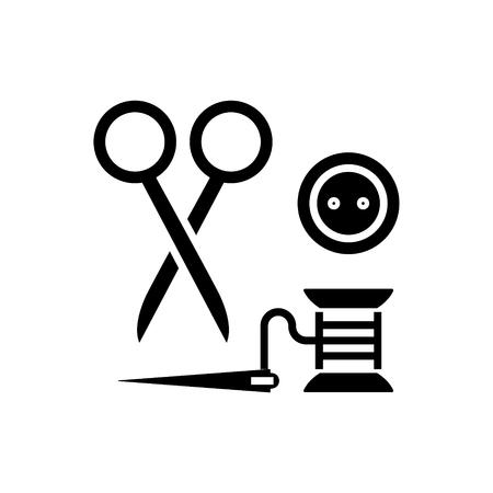바느질 -가 위, 스레드, 바늘, 단추 아이콘, 그림, 벡터 격리 된 배경에 서명