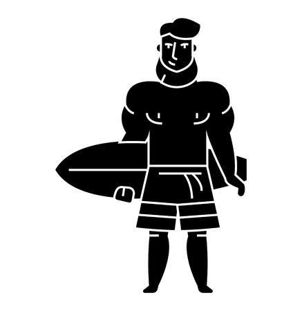 Strong bearded man with surfing board icon, illustration, vector sign on isolated background Illustration